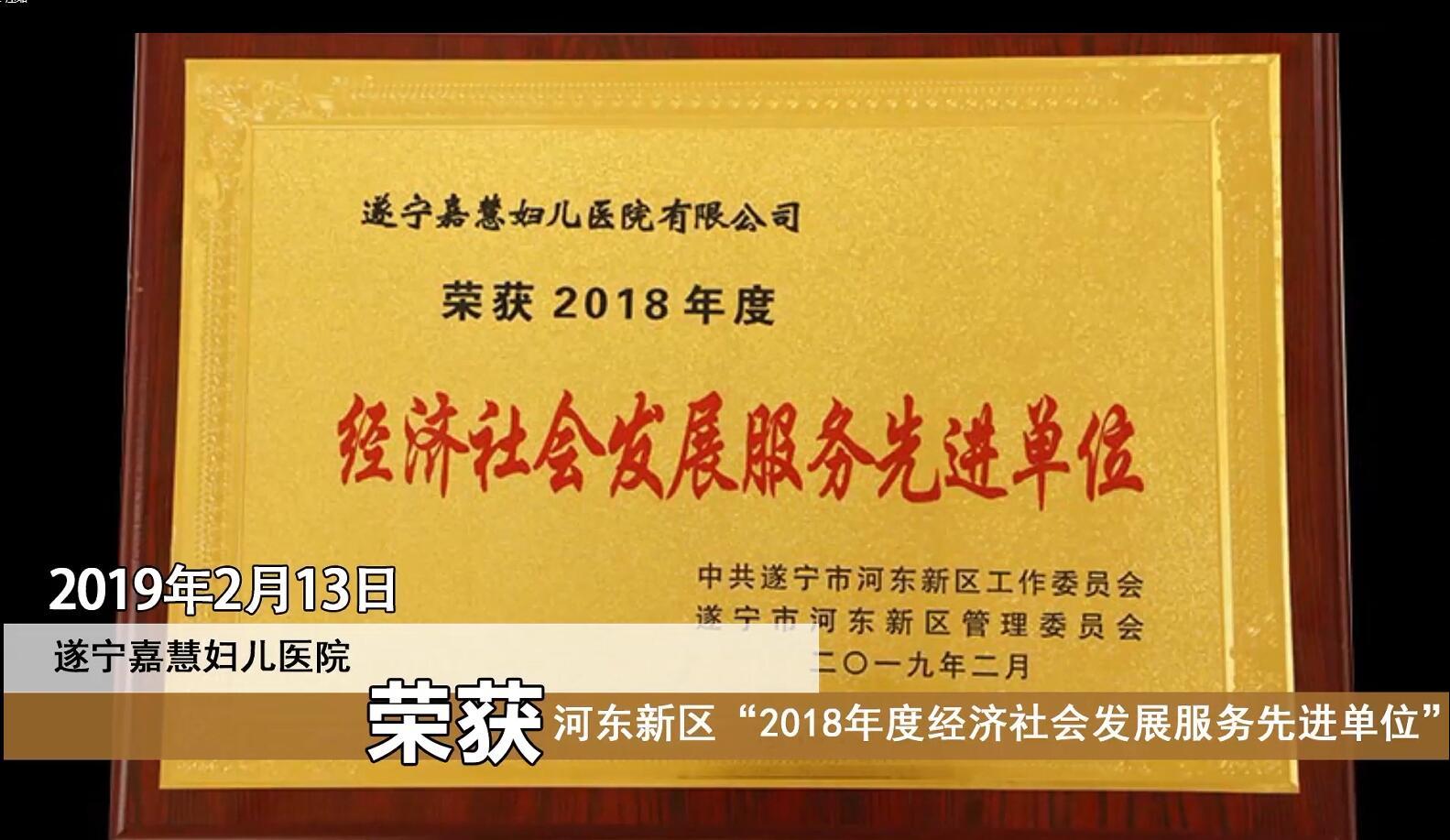 """遂宁嘉慧妇儿医院荣获河东新区""""2018年度经济社会发展服务先进单位"""""""